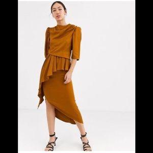 ASOS brown-mustard asymmetrical open back dress.